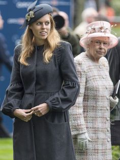 HM The Queen with Princess Beatrice at Ascot 19th October 2013 The look on the queens face. Grandma Ruby to a tee.
