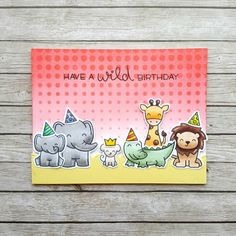 A birthday card, using the Wild For You stamp set from Lawn Fawn.