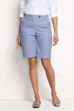 Women's Regular Fit 3 Pincord Bermuda Shorts - Vibrant Cobalt Stripe, 4 from Lands' End on Catalog Spree
