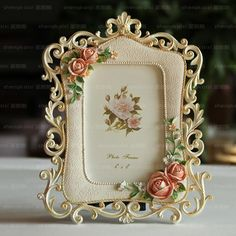 187ec4237d4 Pastoral 6 inch resin foto frame Flower photo frame Vintage hllow out picture  frame Cheap Frames