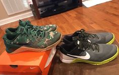 NIKE METCON 3 & 2 Size 10 Black Brown Green Camo Gum Mens Training Shoes