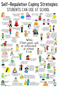 Coping strategies kids can use at school for self-regulation when they feel big emotions. Social Emotional Learning, Social Skills, Teaching Emotions, Behaviour Management, Classroom Management, Anger Management Activities, Classroom Behavior, Calm Down Corner, Education Positive