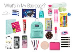 """What's in My Backpack"" by thelemondepartment ❤ liked on Polyvore featuring beauty, Edition, Ted Baker, Martha Stewart, Eos, Benefit, Kate Spade, Frends, Conair and Glam Bands"