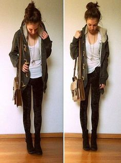 jacket winter boots winter jacket necklace black jeans black boots boots booties white shirt bag forever 21 hipster fall sweater fall outfits warm handbag combat boots skinny pants t-shirt