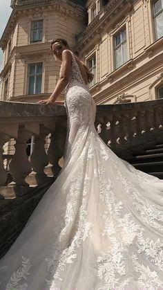 Paris Wedding, Glamorous Wedding, Lace Mermaid Wedding Dress, Mermaid Gown, Wedding Bells, Wedding Gowns, Wedding Dress Cathedral Train, Form Fitting Wedding Dress, Party Wear Indian Dresses