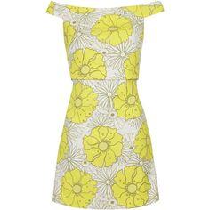 TOPSHOP Floral Print Bardot Dress ($85) ❤ liked on Polyvore