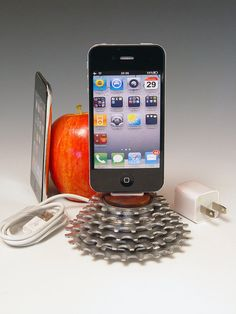 iPhone dock iPod dock Recycled bicycle gear and by Docks4iPods, $70.00