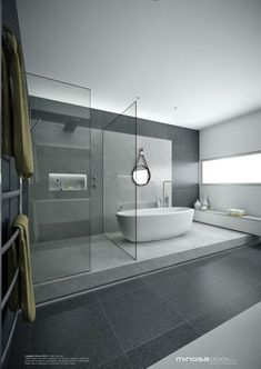Minimal Interior Design Inspiration Here we showcase a a collection of perfectly minimal interior design examples for you to use as inspiration.Check out the previous post in the series: Minimal Interior Design Inspiration miss out on UltraLin Modern Bathroom Design, Contemporary Bathrooms, Bathroom Interior Design, Modern House Design, Modern Bathtub, Bathroom Designs, Modern Contemporary, Modern Shower, Contemporary Shelves