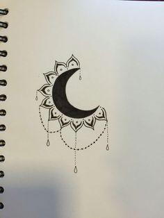 Drawing moon tattoo design 21 New ideas Moon Drawing, Doodle Art Drawing, Cool Art Drawings, Pencil Art Drawings, Art Drawings Sketches, Tattoo Drawings, Cute Drawings Tumblr, Easy Mandala Drawing, Drawing Sunset
