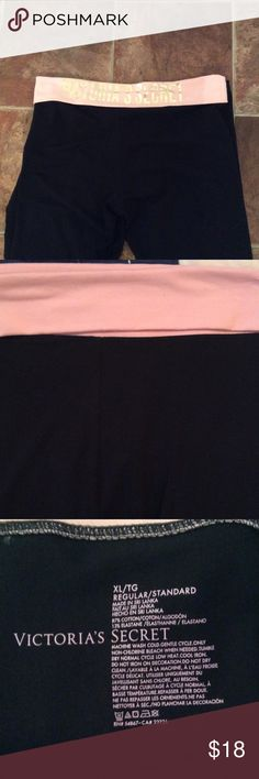 """Victoria Secret yoga pant Sparkly Victoria Secret full leg yoga pant.  Front pullover in baby pink.  Back in baby pink with gold lettering """"VICTORIA SECRET"""".  Size XL in MINT CONDITION!  Gorgeous Victoria's Secret Pants Track Pants & Joggers"""