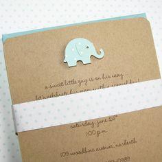 Handmade kraft baby shower invitations for boy – Pool Baby Elephant on recycled kraft stock.  So cute!!