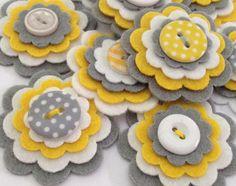 x16 WOOL Felt die cut flowers 45 COLOURS by MagentaGingerCrafts