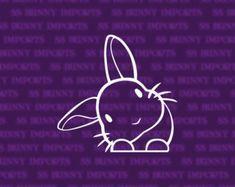 Peering cute head tilt rabbit sticker; bunny car decal / laptop decal / phone vinyl decal, glossy white