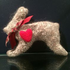 needle felted bunny, felted animals, Easter bunny, stuffed bunny, bunny decor, grey felted bunny, gift for her, Valentine's Day, bunny heart by Bedotted on Etsy