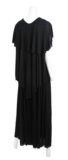 Holly's Harp Black Jersey Caftan Gown | From a collection of rare vintage evening dresses at https://www.1stdibs.com/fashion/clothing/evening-dresses/