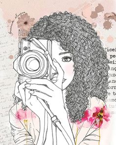 Modest girl who loves photography. Baseado na arte de Black Love Art, Black Girl Art, Art Girl, Art And Illustration, Black Art Pictures, Girly Drawings, Black Artwork, Afro Art, Art Sketchbook