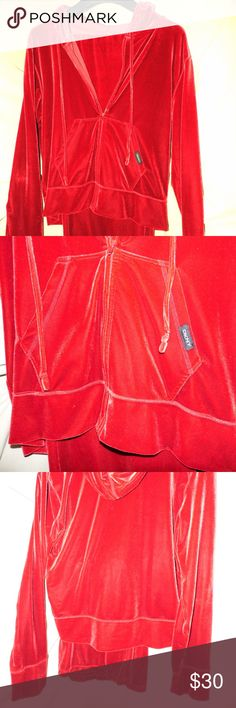 DKNY Red Velour 2-piece hoodie & pants set size L DKNY Zip-up hoodie jacket with 2 pockets along with elastic waist draw-string pants. this set is great for Mommy and me class or a quick bite with your bestie! Item will ship within 24hrs after receipt and/or confirmation of payment!! Brought to you by: Ari's Dowri DKNY Other