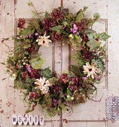 Silk Summer door wreaths.  This is so pretty!