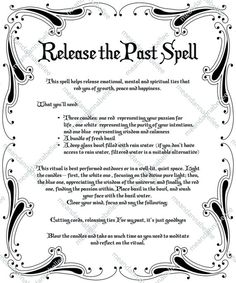 Release the Past Spell Image Witches' Dinner Party Witchcraft Spells For Beginners, Healing Spells, Magick Spells, Wiccan Protection Spells, Real Spells, Candle Spells, Hoodoo Spells, Latin Spells, Wiccan Magic