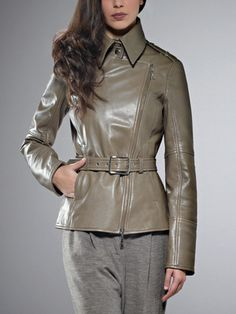 Patrizia Pepe.  Buy Leather jacket biker look, in nappa calfskin, soft sheen effect, with detachable belt, side zip opening