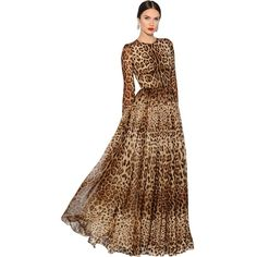 Dolce & Gabbana Women Leopard Printed Silk Chiffon Dress ($5,775) ❤ liked on Polyvore featuring dresses, leopard, leopard dresses, beige dress, slip dress, beige cocktail dress and long sleeve ruched dress