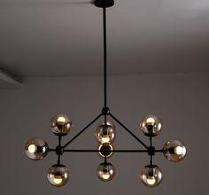 10 Heads Black Iron Glass Bubble Pendant Light Fixture Modern Magic Beans Hang Lamp luminaire Living Room lindsey adelman