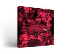 Arkansas Razorbacks Canvas Wall Art Fight Song Design (12x12)