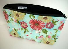 Formosa Blue Large Padded Cosmetic Bag Flat Bottom Zipper Pouch ECO Friendly by JPATPURSES, $18.00