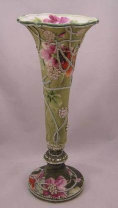 "Antique Nippon Moriage Trumpet Bolted Urn w/Purple Flowers ""Royal Moriye Nippon"""