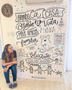 💙 PARE e observe você também... Eu to só admirando a LINDEZA QUE FICOU ESSA PAREDE ✨! Uma família muito linda me chamou para criar uma… Chalk Lettering, Doodle Lettering, Different Lettering, Mural Wall Art, Lettering Tutorial, Home Wallpaper, Chalkboard Art, Metal Wall Decor, Wall Art Designs