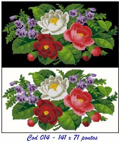 Gallery.ru / Фото #119 - Gráficos reproduzidos - sandrapazetto Cross Stitch Flowers, Christmas Cross, Cross Stitch Charts, Embroidery Stitches, Needlepoint, Diy And Crafts, Projects To Try, Floral, Painting