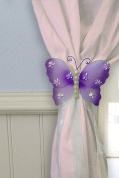 Butterfly Nylon Curtain Bracket - Purple Isabel Curtain Tie Backs, Curtain Fabric, Curtain Brackets, Purple Curtains, Nylon Flowers, Wonderful Flowers, Chiffon Flowers, Flower Making, Hair Bows