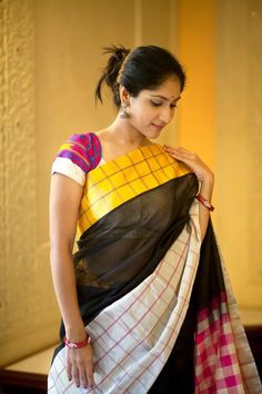 Silk cotton with tissue checks from House of Tamaara, luv the multiple coloured checks