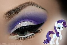 White glitter base with purple crease. Wing black eyeliner on the top of lid. Use white eyeliner on waterline Pony Makeup, Makeup Art, Hair Makeup, Makeup Geek, Dramatic Eye Makeup, Dramatic Eyes, Bright Makeup, Colorful Makeup, Maquillage Halloween