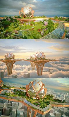 What a Real City in the Sky Would Actually Look Like Futuristic Architecture, Beautiful Architecture, Art And Architecture, Fantasy City, Fantasy World, Future Buildings, Unusual Buildings, City Sky, Futuristic City