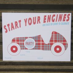 Car invitations - $12.95 for a pack of 10`