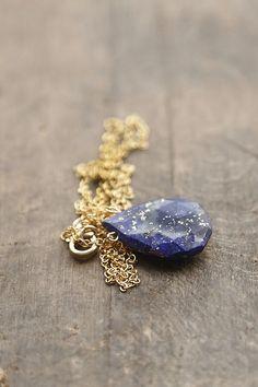 Lapis Lazuli Necklace, Lapis Stone Pendant, Blue and Gold Necklace, Royal Blue Jewelry, Layering Pendant, Long Necklace by AmuletteJewelry on Etsy https://www.etsy.com/listing/171152655/lapis-lazuli-necklace-lapis-stone