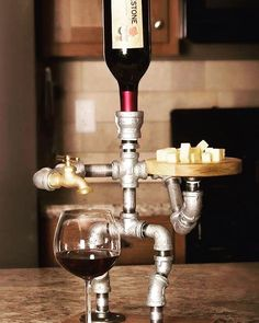 Wine Dispenser - Great Ideas About Wine That You Can Use Whiskey Dispenser, Alcohol Dispenser, Beverage Dispenser, Pipe Decor, Home Bar Designs, Diy Bar, Pipe Lamp, Pipe Furniture, Diy Wood Projects