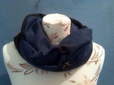 braune baumwolle innen, baumwollwollmischung in jeansblau aussen. das besondere hier sind die zwei braunen knöpfe vorne