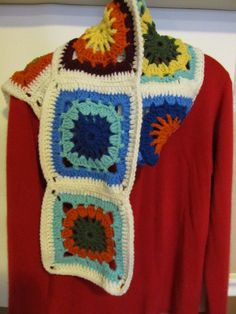 Granny Square Afghan Crochet Scarf by KatsiochKreations on Etsy