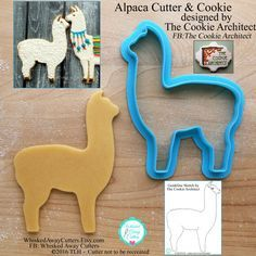 Alpaca cookie cutter and fondant cutter of the cookie architect - ** Guideline sketches to print below - H - Best Cookies Alpacas, Shapes And Curves, Cookies Et Biscuits, Sugar Cookies, Baby Cookies, Cookie Designs, Cookie Decorating, Cookie Cutters, The Incredibles