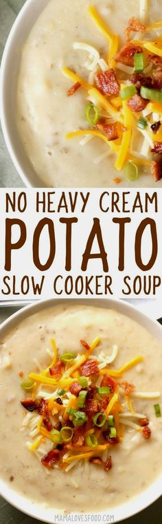 NO CREAM - NO GLUTEN  NO CREAM - NO GLUTEN --- this came out AMAZING!!!    crock pot baked potato soup  https://www.pinterest.com/pin/231020655869798049/