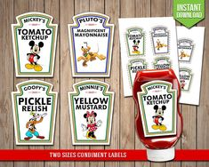DISNEY CLUBHOUSE Condiment Labels Mickey Mouse by RedFoxParty