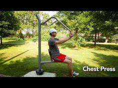 ActionFit Chest Press - http://youtu.be/ZgHLdzKZ66c  Chest Press users can remain seated in their mobility device or sit on the ergonomically designed saddle and push the non-slip handles outward. Isokinetic springs activate to provide smooth resistance and workout targeted strength training zones. - http://www.molandacompany.com/actionfit-chest-press/