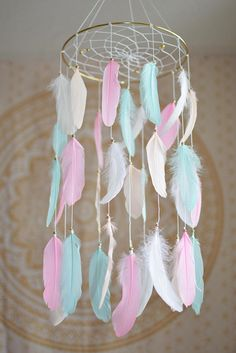 Pink and Mint Nursery Girl Room  Decor Baby Girl Mobile Woodland Tribal Baby Shower Gift Ideas Feather Decor