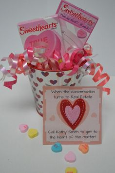 "Conversation hearts + tagline that reads: ""When the conversation turns to real estate, call (insert name) to get to the heart of the matter!"" #realestate #ValentinesDay #Gift #PopBy"