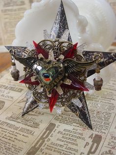 OMG - this is my FAVORITE one yet!! Altered Art, Steampunk Style Assemblage Heart Ornament on Etsy