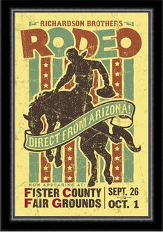 Ideas for Springdale: Rodeo Poster 1940's - 1950's Western Arizona Wild West. $30.00, via Etsy.