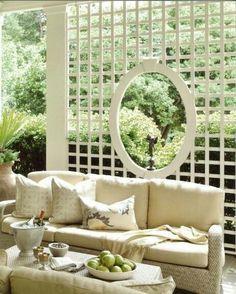 A lattice wall creates a garden room .. allowing you to see the garden!