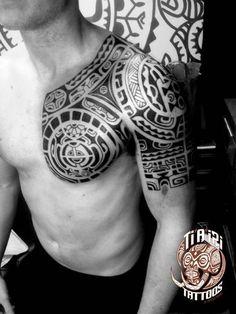 Polynesian Shoulder & Chest Tattoos - Ti'a'iri Polynesian Tattoo #polynesiantattooschest